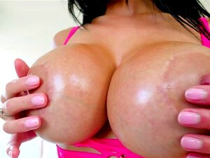 Busty Latina Victoria June loves teasing guys. Busty Latina bitch Victoria June loves teasing guys with her giant knockers pouring water and oil on her chest until those fat fun bags are glistening The beautiful slut kneels to give Jonni Darkko a nasty ball sucking blowjob in POV footage