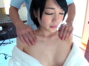 Agony verge cute tits girl with oil massage