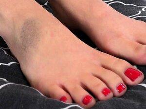 Saya Song Wraps Perfect Asian Toes Around Cock