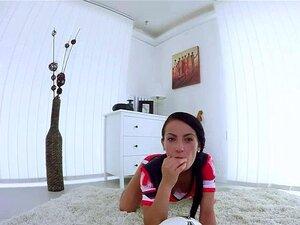 Hot football babe fan masturbates pussy in VR Porn