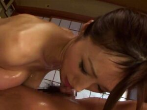 Arousing Japanese mature babe Julia gives a foot job and tit fuck. Julia ia a alluring Asian mature babe enjoying giving a massage to her well oiled boyfriend. She rubs him all over and does some hand work to get his cock standing up for what is to come! She is a horny chick and gives him a foot job rubbing his hard cock with her small feet before giving him a tit fucking!
