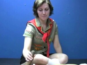 Cock Jerking Girl Scout Badge, Katy, your favorite cock jerking Girl Scout, is at it again. She's working on her next badge. She has to tie a guy down and make him cum all over himself. She really wants to get this one. She finds a guy, ties him down with bungee cords and preps him for a hand job. This guy has a big cock to jerk off. Katy tugs on his cock until its rock hard. With both hands, she strokes his shaft tight and fast. He's glad she wrestled him to the floor and tied him down. To get her badge, she has to make him cum. This cute Girl Scout does love watching a big long dick cum all over itself. <span style= color:#F90; >Added: February 11, 2015</span>
