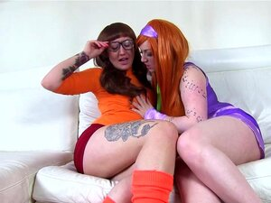 Daphne and Velma eat pussy. Scooby Doo where are you? There is no time to lose for Daphne and Velma, all the paranormal mystery solving has worn them out and all they need now is each other to play with and solve the mystery of what is under that purple dress and that orange turtle-neck sweater!