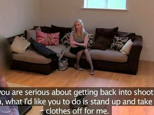 Natural pale blonde sucking and fucking on casting. Natural pale blonde stripping off to her black stockings then sucking and gagging on dick of fake agent until gets pussy fucked on couch in his office