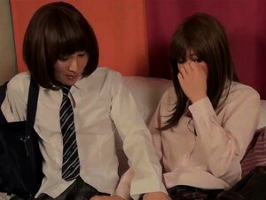 Japanese uniformed ladyboys giving footjobs