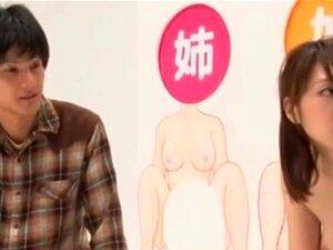 Hot asian babe fucks in weird game show