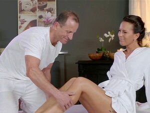 Masseur got oiled shaved pussy. Experienced Euro masseur oils and gently massages sexy brunette babe with perfect boobs then fucks her pussy and throat till belly cumshot
