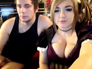 Pigtailed hottie puts her huge breasts on display and sucks