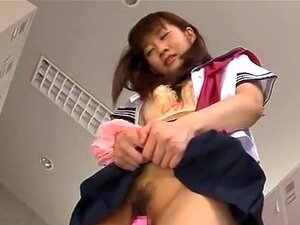 Yuri Shinomiya schoolgirl is masturbated in the locker room, Schoolgirl Yuri Shinomiya is learning lessons in her school that aren't usually taught! She is in the locker room and her guy comes with lots of sex toys for her to experiment with in masturbation. He undresses her and rubs this vibrator on her aroused clit for some hot orgasms like she has never experienced before!