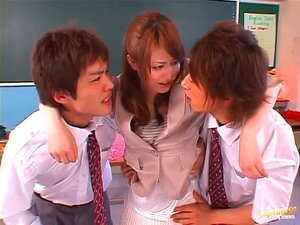 MMF action with hot teacher Akiho Yoshizawa, The sweet princess of JAV appears in a class room with two male students ready for some MMF action. Akiho Yoshizawa takes her top off exposing her hot titties and gets sucked from two sides. Students take out their big dicks and screws Akiho in the mouth and pussy.