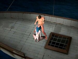 3D elf sucks cock and gets fucked hard on a boat