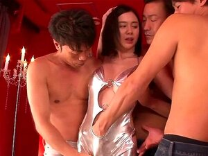Bigtitted asian mom takes on three dicks and moans loud