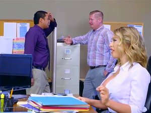 Kagney Linn Karter getting rough pounding on office desk, When the boss, Michael Vega, notices busty Kagney sweating in heat, he decides to chill her out by letting her suck and fuck his dick to cool off!