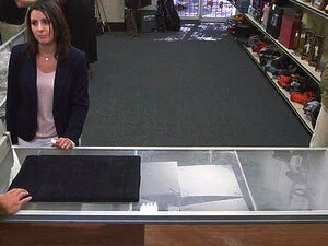 Pawn keeper fucking hard somebodys wife in the pawnshop, Beautiful brunette wife goes to a pawnshop to pawn her earrings but she end up getting her unshaven pussy fuck hard for money