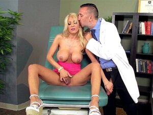 Kayla Kayden hiked up her skirt so Dr. Lee could admire her pussy