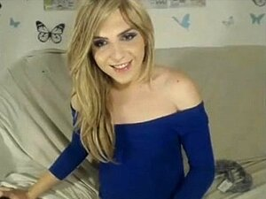 Tranny in blue shirt wank and cum on webcam more on -