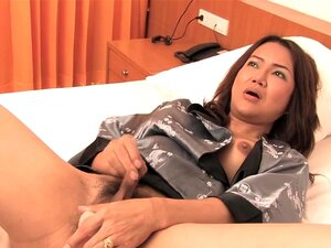Ladyboy-Dildo Video: Kate - Kimono Cum. Ladyboy Kate says she often called a  Newhalf  by her Japanese customers and has traveled most of Asia to sell her asshole.  Kate likes to wear kimono robes and carries one with her when she stays long time, greeting her lover in the bed room.  Today you are Kates lover, knowing whats in store when she cums all over her soft belly as her asshole is stuffed with a dildo.