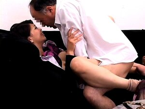 Attractive business lady has sex with a lustful old guy on