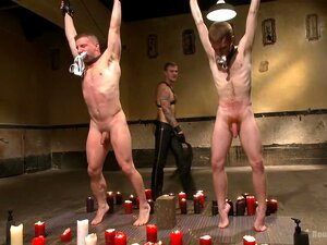 Big Cock Galore - Live Show, Hung stud's Doug Acre and Seamus O'Reilly stand with their jockstraps in their mouths as Van gives them each their slave number, 153 and 523. After a flogging from Mr. Wilde, hot wax is poured all over both subs while being relentlessly tormented with the zapper. 153 and 523 have their legs and arms bound in the air as their exposed ass cheeks are beaten red with the paddle. Van and Christian take turns drilling the fucksall into each of the boy's holes before Christian whips out his giant cock and pounds their holes. After a heavy caning, both subs worship Mr Wilde's beautiful feet before they climb up on the sybians to see who can blow their load first. Finally, Christian orders the boy's to their knees for them to receive his massive load all over their faces.
