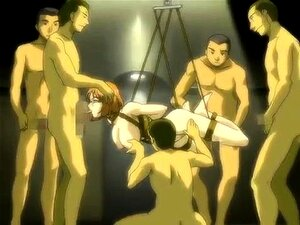 Helpless babe gets fucked by a gang of boys in hentai action